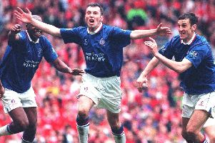 Jamie Hewitt celebrating his dramatic late extra-time equaliser to make it 3-3 v Middlesbrough in the FA Cup semi-final at Old Trafford in 1997.