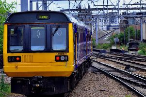A Pacer 142 train from the 1980's leaves Leeds station bound for Selby. Photo: JPI Media