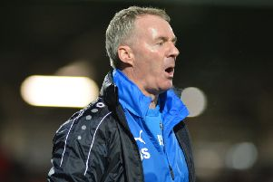 John Sheridan on the touchline against Notts County.
