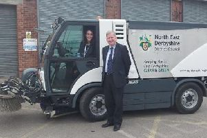 Councillor Martin Thacker, leader of North East Derbyshire District Council, and Councillor Charlotte Cupit, cabinet member for the environment, with one of the new road sweepers. Picture posted on Twitter.
