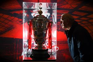 The Rugby League World Cup trophy on display in Preston earlier this year.