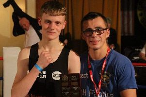 One of Huthwaite's winners, Matthew Sludds, and the club's head coach, Jordan Turner. (PHOTO BY: Red Line Imagery).