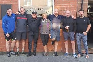 Ben Abbott (third from the right) with family and friends before the bike ride