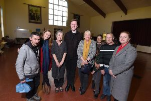 Ann Fairhust, Father Philip Anderson, Rev Rachel Sheehan and Michelle Rimmer from Partners Foundation with members of the community. Partners have given 1m towards transforming the church to provide a nine bed supported accommodation for people who have come out of prison