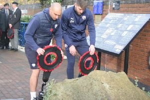 Chesterfield FC players and staff attended an Armistice Day ceremony at the Proact today