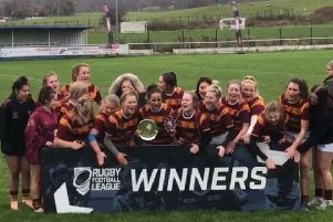 Dewsbury Moor Girls Under-16s celebrate winning the National League Grand Final.