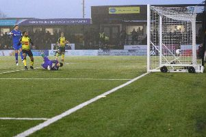 Picture by Arthur Haigh/AHPIX.com;Football;National League; Harrogate Town v Chesterfield ; 23/11/2019  KO 3.00pm;Wetherby Road; copyright picture;Howard Roe;07973 739229  Chesterfield's Shwan Jalal Goalkeeper can do nothing to stop the equaliser from Josh Falkingham (4) of Harrogate Town
