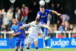 """Chesterfield defender Anthony Gerrard, pictured right, could be the """"boost"""" that the Spireites need, says boss John Sheridan. Picture Shibu Preman/AHPIX LTD."""