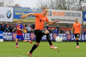 Scott Boden, pictured, scored one of Chesterfield's two goals on Saturday against Aldershot.