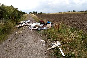 Rubbish dumped by Horace Piggott on Bentinck Road in Shuttlewood, Bolsover.