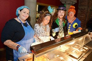 Chesterfield pantomime cast from Jack  and the Beanstalk visit Gussies community kitchen to help.