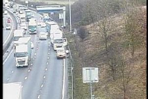 Traffic building up on the M1 due to an incident.