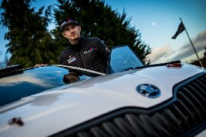 Chesterfield rally-driver Rhys Yates with his new Skodia Fabia R5. (PHOTO BY: Stanislav Kucera Photography).