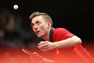 GOLD COAST, AUSTRALIA - APRIL 09:  Liam Pitchford of England competes against S.F.E.Poh of Singapore during the Men's Team Table Tennis Bronze Medal Match on day five of the Gold Coast 2018 Commonwealth Games at Oxenford Studios on April 9, 2018 on the Gold Coast, Australia.  (Photo by Robert Cianflone/Getty Images)
