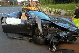 The aftermath of the accident. Photo - SWNS