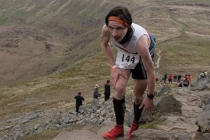 Chris Holdsworth in action at the Three Peaks fell race