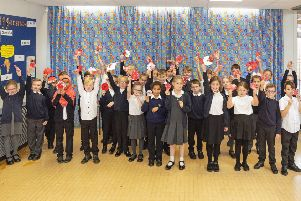Children at Asquith Primary School in Mansfield enjoying the 'Season Of History' workshop.