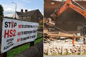 Left: A HS2 protest sign in Yorkshire. Right: File photo of demolition