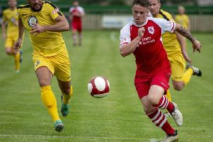 New Lancaster City striker Reece Webb-foster in action for Colne this season. Picture: Andy Pritchard.