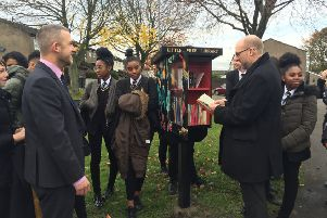 CELEBRATION: Locals welcome the new Little Library.