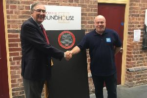John Wood, chairman of the Institute of Mechanical Engineers, with Mervyn Allcock, Barrow Hill Roundhouse manager.