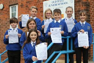 Old Hall Junior School pupils with their letters.  Pictures by Jason Chadwick.
