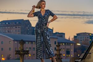 Hattie wears: Foil sequin jumpsuit, �19.99; bag, �12.99; bracelets, �12 each.  All in store now and online from New Look. Brown leopard print shoes, �65, from River Island. Picture: James Hardisty.'Styling & Story: Stephanie Smith'. Hair: Raz Hanif. Make-up: Doniya Malik.