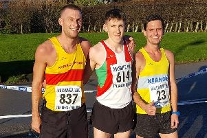 Bolsover 10k podium finishers: Rich Start, Samuel Moakes and Dale Annable