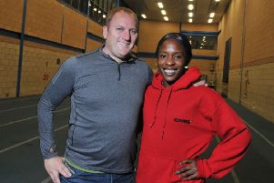 Marilyn Okoro at Robin Park with her coach, Trevor Painter