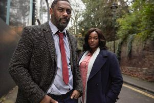 DCI John Luther (Idris Elba) with new sidekick DS Halliday (Wunmi Mosaku) in the horrifically good BBC drama series Luther