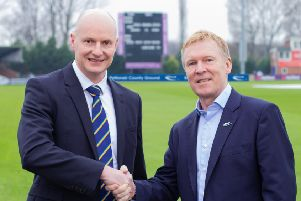 Chief executives Ryan Duckett, of Derbyshire, and Wayne Hollinshead, of Pattonair, shake on the deal.