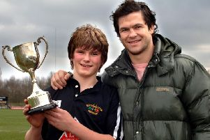 A blast from the past as Owen Farrell is pictures during his Wigan St Pats days with dad Andy