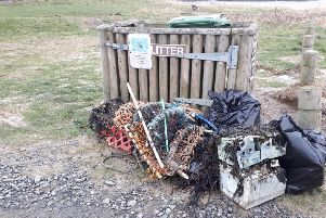 Some of the rubbish collected by Coast Care volunteers on Boulmer beach.