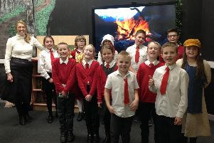 Author Vashti Hardy with pupils at Bolsover Church of England Junior School. Picture submitted.