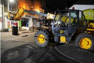 The digger used in the cashpoint raid. Picture: Cumbria Police.