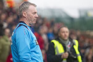 Picture Greg Dunbavand/AHPIX LTD, National League, Wrexham vs Chesterfield FC, Racecourse Ground, 02/03/19, K.O 3pm''Chesterfield manager John Sheridan watches on as his side face Wrexham.''Howard Roe>>>>>>>07973739229