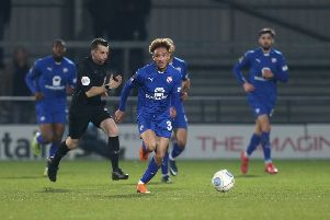 Picture by Shibu Preman / ahpix.com'Football; Season 2018/19; Nation League; Conference premier; Vanarama National League;  Barnet vs Chesterfield;'7:45pm Tuesday ;  26rd February;'The hive stadium;' chesterfield's Alex Kiwomya in action sprinting up for a goal'Copyright picture; 'Howard Roe; '07973 739229;