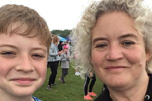 Coun Anna Hindle with her son Tim at last June's Race For Life in Preston