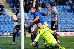 Chesterfield FC v Eastleigh.'Haydn Hollis watches his shot in to the back of the net.