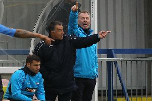 Glynn Snodin (centre) and manager John Sheridan (right) point the way against Havant & Waterlooville.