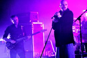 Tim Booth performing with James at Newcastle City Hall on Sunday, March 17, 2019. Photo by Carl Chambers