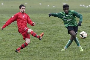 Geovannic Biaia shoots for Middleton Park during their Division 4 encounter at Shire III. PIC: Steve Riding