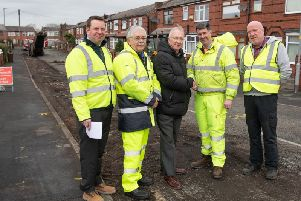 Coun Molyneux (centre) with engineering experts