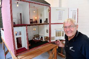 Wally Nanson next to the model house he made as replica of his former Roker Avenue home. Picture by FRANK REID