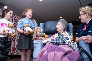 Elouise O'Loughlin and Abbie Waters with patient Hilda Olding and Cathy Whittaker from Trinity Hospice