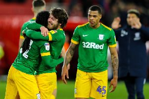 Daniel Johnson, Ben Pearson and Lukas Nmecha celebrate PNE's win at Middlesbrough