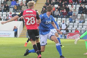 A-Jay Leitch Smith scores in Morecambe's win against Macclesfield Town