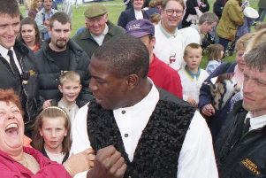 Frank Bruno, centre, during a previous visit to Sunderland in 1997.