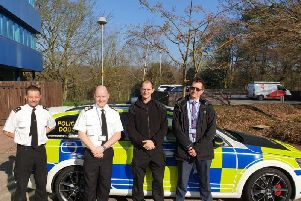 Officers at Nottinghamshire Police HQ with the new dog car.