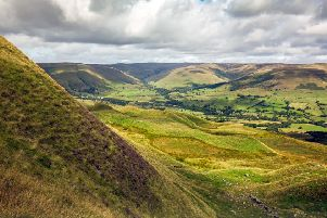 Skies over Vale of Edale taken from Rushup edge, Derbyshire
